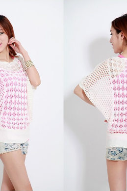 Women's all-match short sleeved collar bat hollow sweater big code blouse