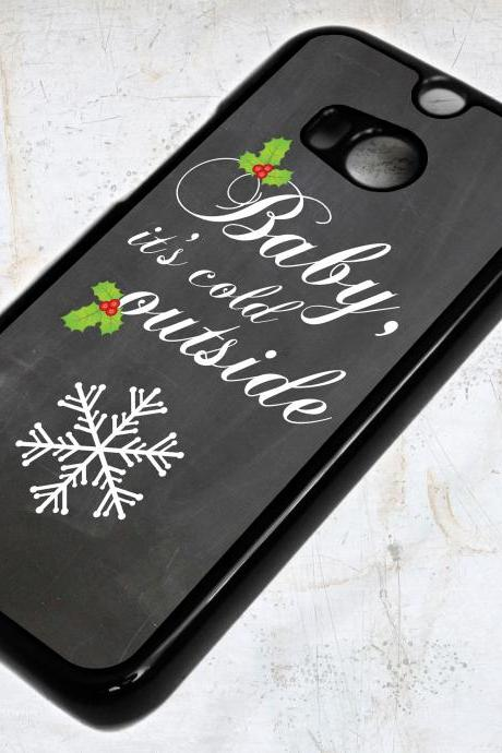 HTC ONE M8 Baby Its Cold Outside Christmas Snowflake Case