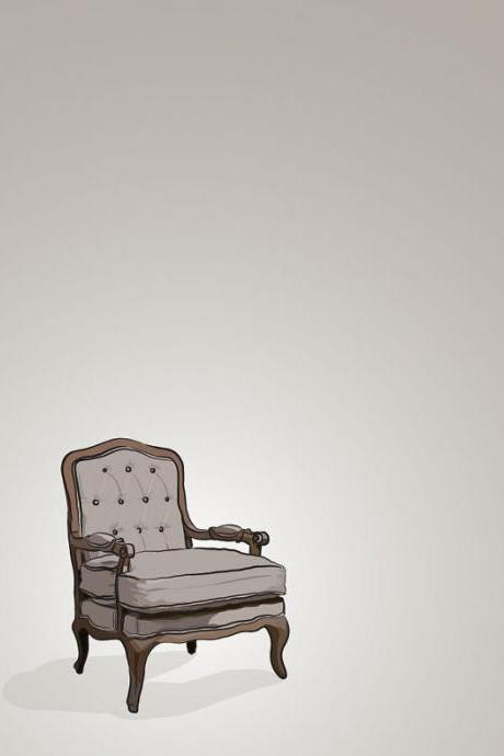 Brown Vintage Chair - Illustrated Print - 5 x 7 Archival Matte