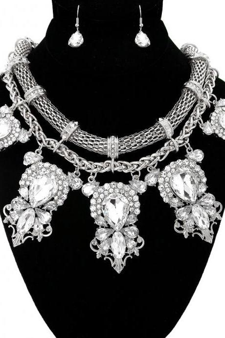 Silver Statement Necklace, Big Silver Crystal Party Necklace