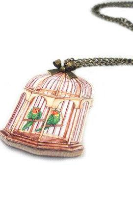 Bird Cage Wooden Necklace - love birds - bird necklace - handmade