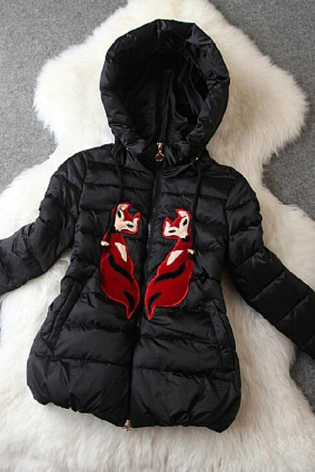 Cartoon Embroidered Hooded Down Coat