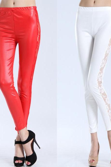Nice Women's Lace Leather Leggings