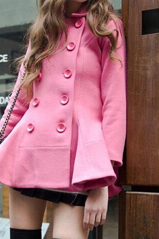 Pink Double-Breasted Wool Coat Jacket