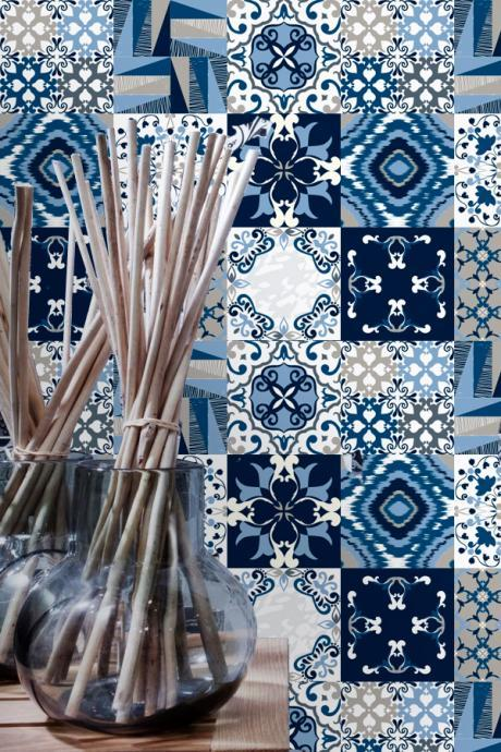 Wall Tiles Decoration Covers Blue Ones (Pack with 45) - 4 x 4 inches