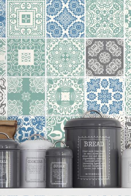 Sticker Decoration Tiles Coatings for Kitchen Pastel Blue (Pack with 36) - 4 x 4 inches