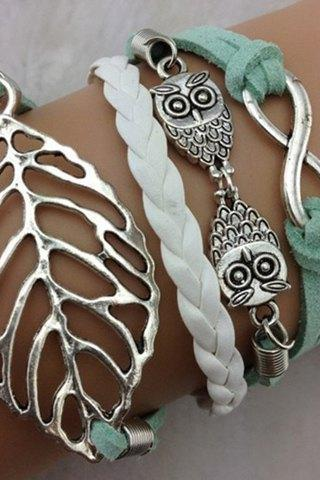 Chic Leaf Owl Layered Bracelet For Women