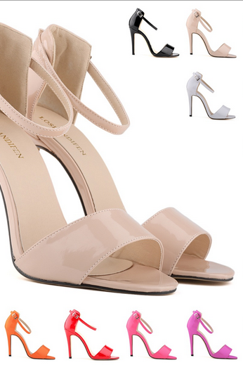 Ankle Straps Patent Leather High Heel Sandals