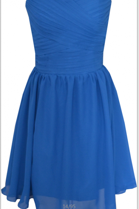 Sweetheart Royal Blue Simple Elegant Knee Length Short Prom Dress Party Bridesmaid Dress