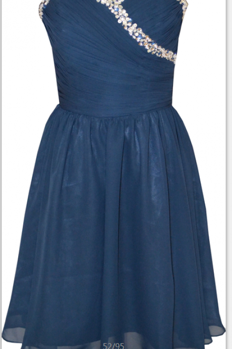 Sweetheart Beaded Navy Blue Simple Elegant Knee Length Short Prom Dress Party Bridesmaid Dress
