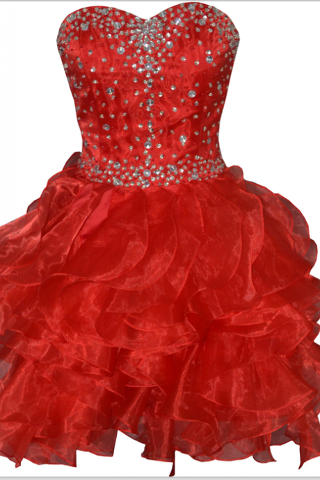 Sweetheart Red Organza Beaded Knee Length Short Prom Dress Party Cocktail Dress,Short Homecoming Dress