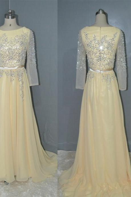 Long Sleeves Beaded Floor Length Prom Dress Bridesmaid dress,Champagne Evening Dress