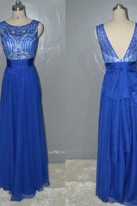 Sleeveless Beaded Floor Length Long Chiffon Royal Blue Prom Dress Bridesmaid dress,Evening Dress