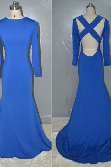 Long Sleeves Backless Sexy Floor Length Mermaid Long Royal Blue Prom Dress Bridesmaid dress,Evening Dress,Party Dress