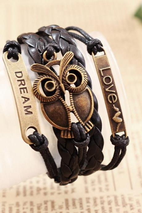 Chic Night Owl Embellished Multi-Layered Chain Bracelet For Men and Women
