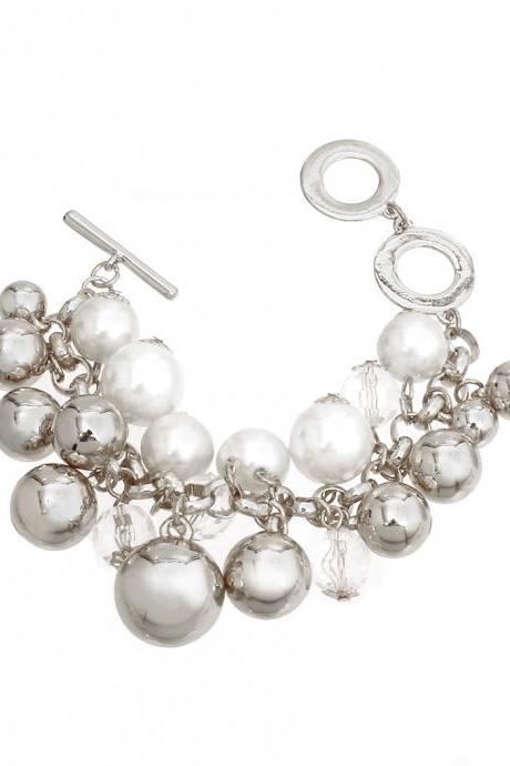 Charm Bracelets, Silver Charm Bracelet With Toggle Clasp, Pearl And Balls Bracelet