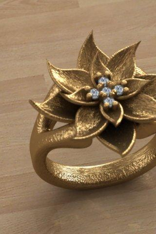 Amaryllis ring- christmas - unique ring- flower ring - fashion ring - naturel rıng - trend ring - antıque ring