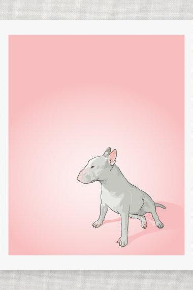 Bull Terrier Dog Portrait- Pink Illustrated Print - 5 x 7 Archival Matte Print