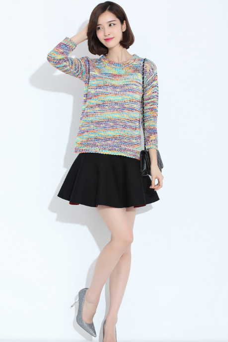 Women's new rainbow fitting long sleeved sweater coat color gradient loose woman