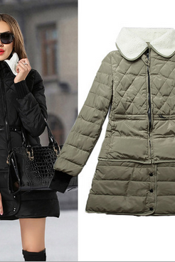 Europe 2014 new winter cotton padded jacket detachable lamb wool lamb hair thickening hem down cotton