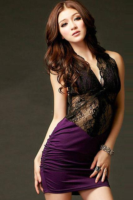 Catching Plunging V Neck Open Back Dress With Hollow Lace - Purple