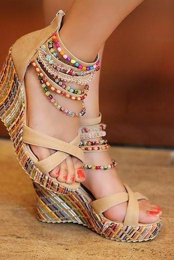 Handmade Colorful Beads High Heel Sandals