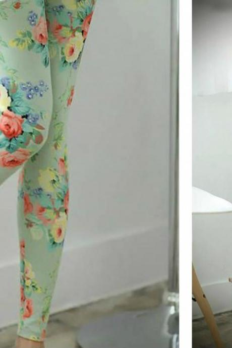 Beautiful Floral Printed Cotton Leggings