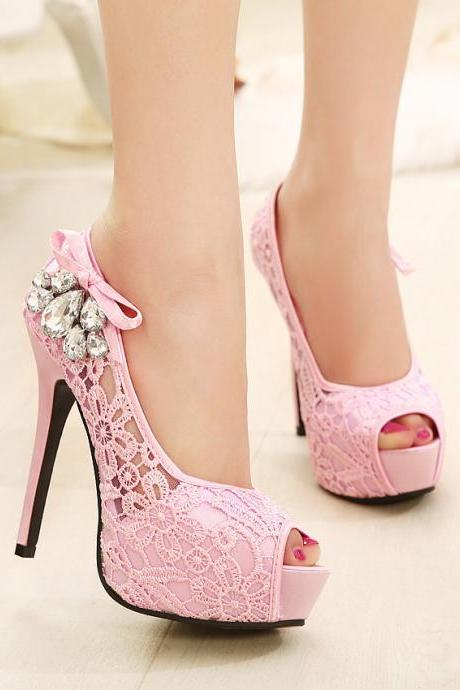 Beautiful lace peep toe high heels shoes