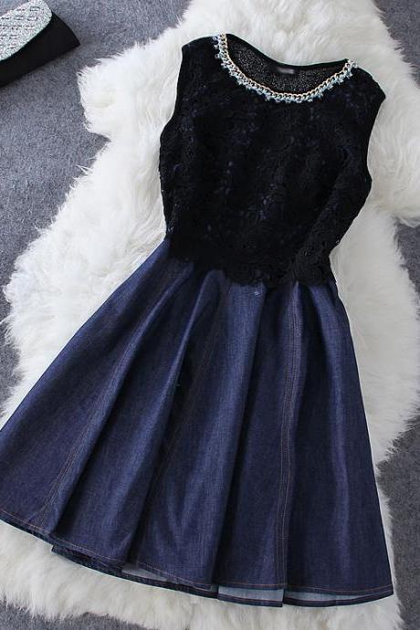 Fashion Stitching Denim Sleeveless Dress