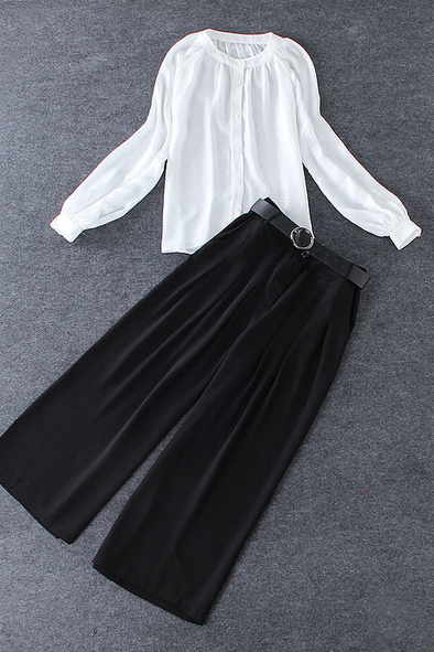 New silk white long sleeved shirt + Black Wide Leg Pants Suit