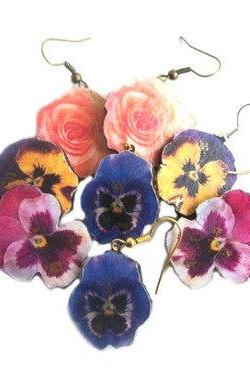 Flower Earrings, Wooden Flower Earrings, Pansy Earrings, Rose Earrings, Dangle