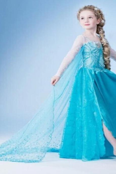 Pretty Frozen Dress for Girls Princess Anna Dress Pretty Blue Frozen Dress