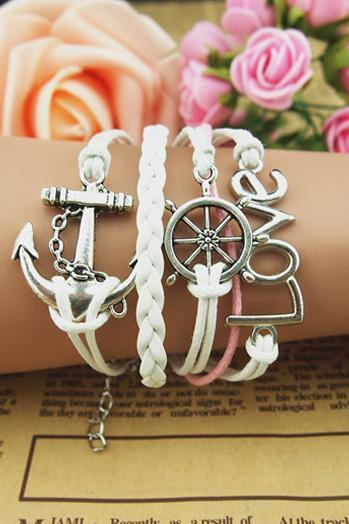 Cute White Nautical Charmed Bracelet