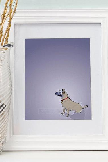 Puggle Mix Dog Portrait - Purple Digitally Illustrated Print - 8 x 10 Archival Matte Print