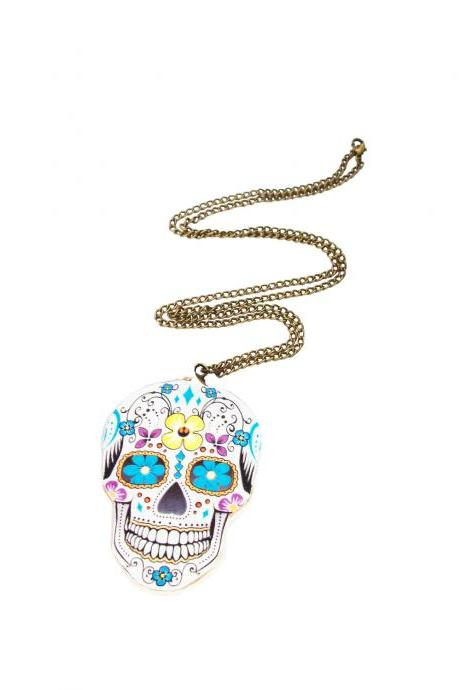 Day of the Dead Necklace, Wooden Necklace, Skull Necklace, Colourful Skull, Sugar Skull