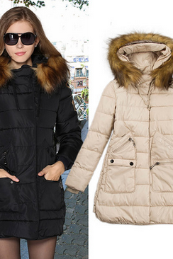 Europe And The United States Women's New Luxury Fur Collar Self-Cultivation Hooded Long Down Cotton Padded Clothes In