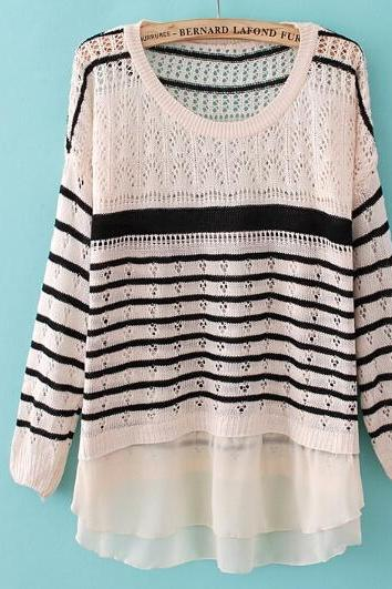 Loose striped knit sweater SF120401JL