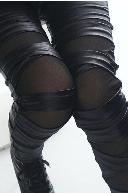 Fashion Straps Mesh Lace Black Leather Leggings