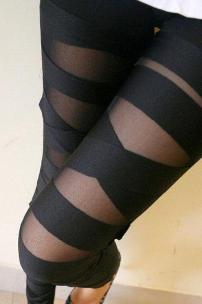 Fashion Black Hollow Out Strap Mesh Leggings