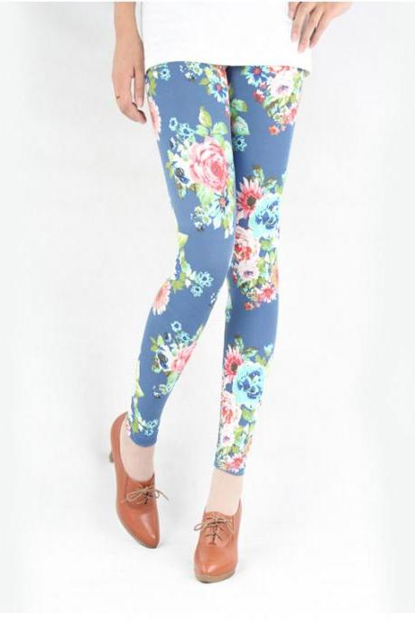 Fashion Blue Floral Print Leggings