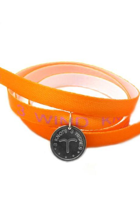Aries zodiac sign orange wristband- sterling silver 925 pendant on satin ribbon