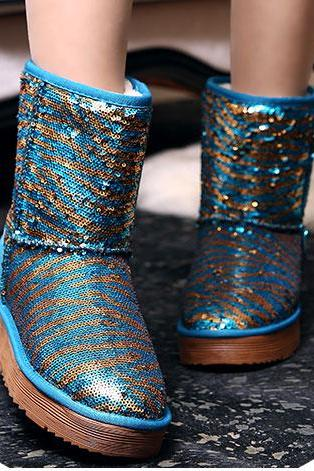Shiny Sequinned Flat Short Boots