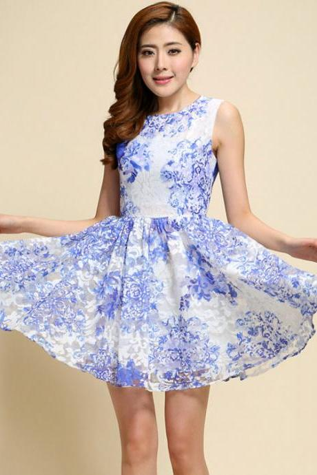 Sweet Slim Organza Lace Embroidery Dress