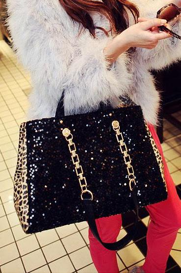 Bling Blink Sequins Leopard Handbag & Shoulder Bag