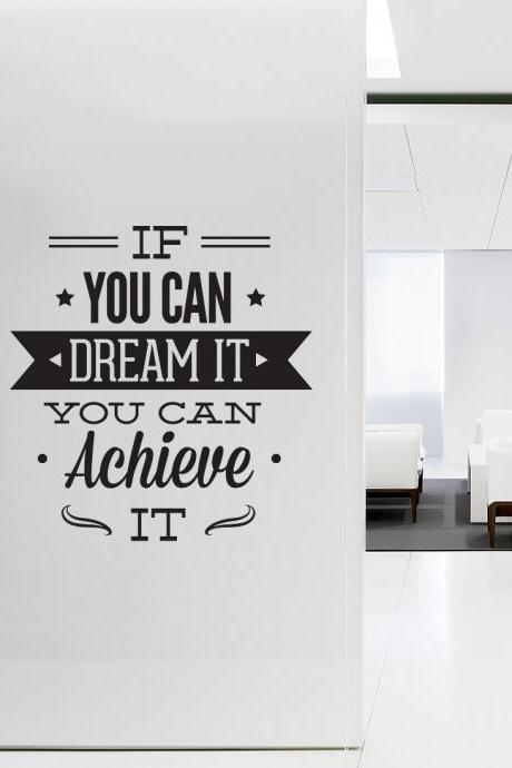 Wall Decal Quotes - Wall Art Typographic Sticker Dream It Achieve It Decal for Office Decor Inspirational Quote