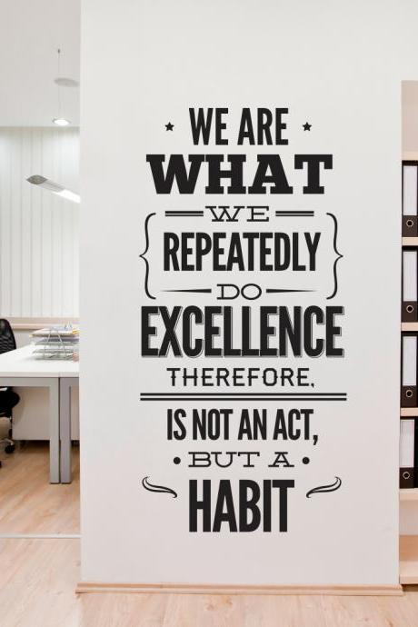 Wall Decal Quotes - Wall Typography Decal Sticker Excellence Office Decor Art Vinyl
