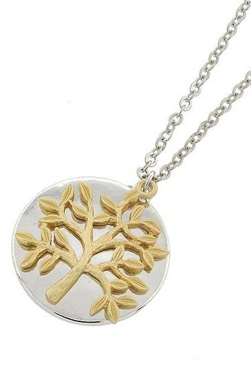 Tree of Life Necklace, Raund Two Tone Pendant, Elegant Tree of Life Pendant Necklace