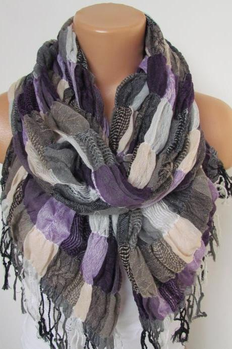 New Season Plaid Pattern Long Scarf With Fringe- Shawl Scarf-Winter Fashion - Pashmina Scarf- Beige Black Purple Infinity Scarf