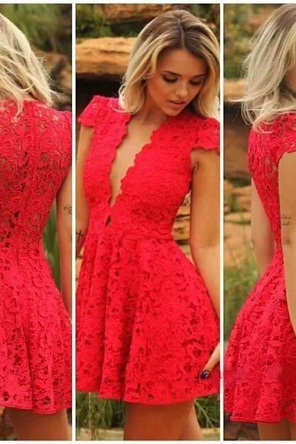 Beautiful V Neck Red Lace Dress