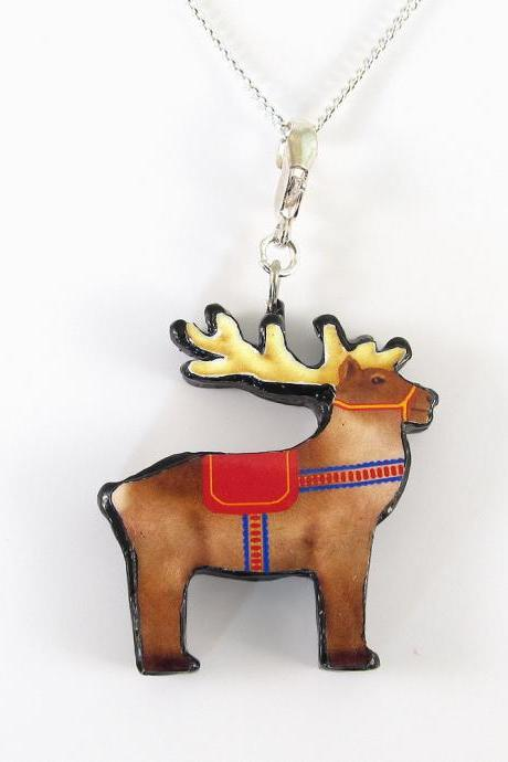 Christmas Reindeer Pendant and Necklace